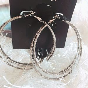 City Gypsies NWT Large Silver Earrings Hoops